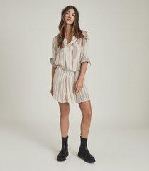reiss alba - striped shirt dress in cream, womens, size 14