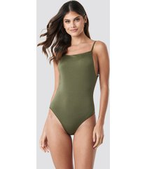 trendyol slim strap swimsuit - green