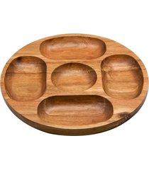 petisqueira de madeira com 5 divisórias