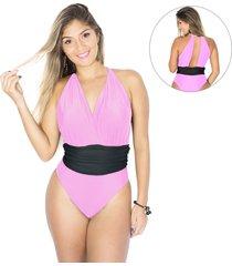 body/ maiô amo verão madrid rosa com preto decote profundo