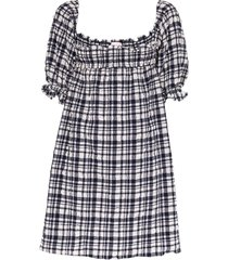 solid & striped puckered gingham babydoll dress - blue