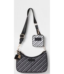 river island womens black pouchette ri chain crossbody bag