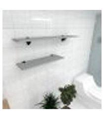 kit 2 prateleiras banheiro em mdf suporte tucano cinza 1 60x20cm 1 90x20cm modelo pratbnc17