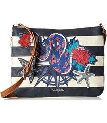 bolsa tiracolo desigual estampada azul-marinho/branca - azul - feminino - dafiti