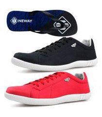 kit 2 pares sapatenis neway sw masculino preto + vermelho+ chinelo