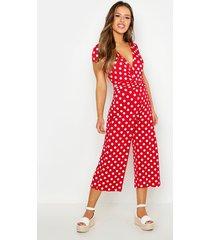 petite polka dot wrap front culotte jumpsuit, red