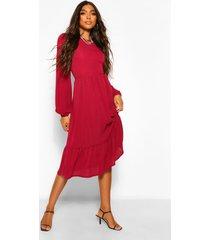 tall gesmokte midi jurk met laagjes, berry