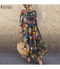 zanzea verano de las mujeres florales impresos kaftan playa del club del partido flojo maxi largo del vestido -verde