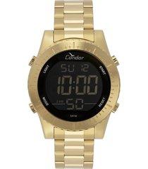 relógio condor masculino digital dourado cobj3463aa4d