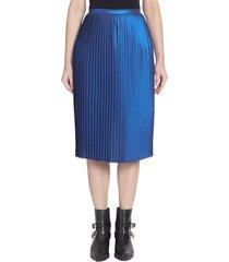 each x other women's metallic accordion pleat skirt - electric blue - size m