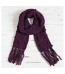 100% alpaca scarf, 'mulberry bubble' (peru)