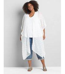 lane bryant women's star-print chiffon kimono duster 22/28 ivory