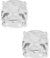 anne klein silver-tone crystal cushion button earrings