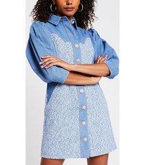 river island womens blue denim boucle mix shirt dress