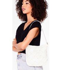 womens want a woven success shoulder bag - white
