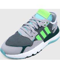 tenis lifestyle verde-gris-blanco adidas originals nite jogger