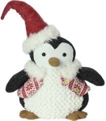 "northlight 14"" small plush penguin in red nordic snowflake vest christmas figure"