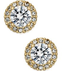 eliot danori gold-tone crystal halo stud earrings, created for macy's