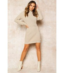 roll neck sweater dress, stone