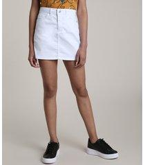 saia de sarja feminina curta com bolsos branca
