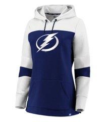 majestic tampa bay lightning women's colorblocked fleece sweatshirt