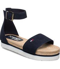 natural rope sandal shoes summer shoes flat sandals blå tommy hilfiger