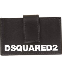 woman black dsquared2 card holder with strap