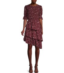 lea & viola women's asymmetric tiered blouson dress - wine floral - size l