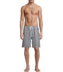 solid and striped men's the california striped swim shorts - blue cream - size m