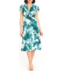 women's maggy london floral print flutter sleeve midi dress, size 0regular - green