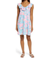 lilly pulitzer(r) lilly pulitzer alessa floral ruffle neck pima cotton shift dress, size large in multi tropical punch at nordstrom