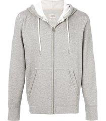 rag & bone zipped hooded sweatshirt - grey