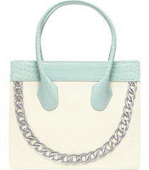 smiley' chain graphic leather top handle canvas tote