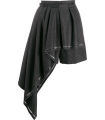 alexander mcqueen pleated drape asymmetric shorts - grey