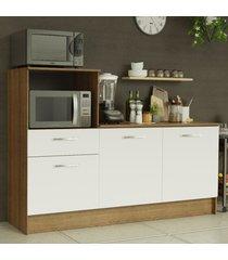 balcão madesa onix 180 cm 3 portas 1 gaveta e nicho para forno - rustic/branco marrom
