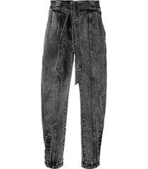 ulla johnson tie-waist tapered jeans - grey