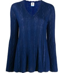 m missoni zig-zag knit flared sweater - blue