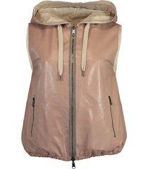 reversible drawstring hooded vest