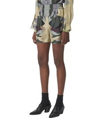 burberry tawney camo print silk shorts, size 0 in sage green ip ptn at nordstrom