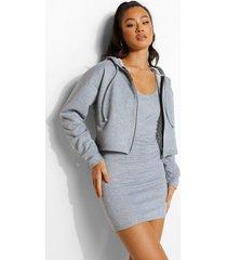 mini jurk met bandjes en korte hoodie set, grey marl