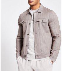 river island mens beige button front skinny fit western jacket
