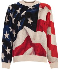ih nom uh nit sweater l/s over american flag