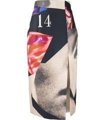 16arlington collage-print midi skirt - neutrals
