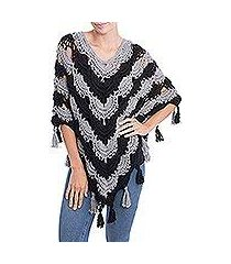 100% alpaca poncho, 'chic night' (peru)