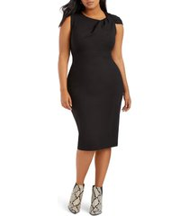 plus size women's eloquii shoulder twist ponte knit sheath dress, size 26w - black