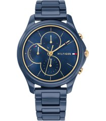 tommy hilfiger women's blue ceramic bracelet watch 38mm