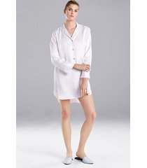 natori feathers satin essentials sleepshirt pajamas, women's, blue, size xs natori
