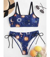 sun stars moon tie bralette bikini swimsuit