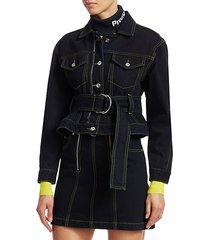 d-ring belted denim jacket