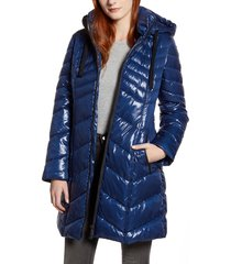 women's sam edelman hooded puffer jacket, size x-small - blue